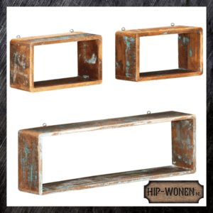 Wandschappenset gerecycled hout